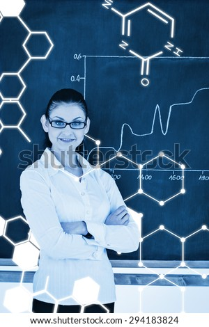 Science graphic against scientist explaining a graph while looking at the camera - stock photo