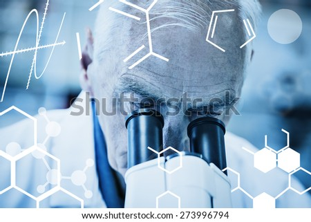 Science graphic against senior scientist working with microscope - stock photo