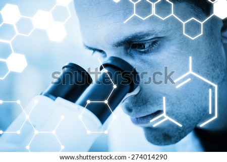 Science graphic against young scientist working with microscope - stock photo