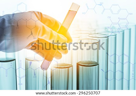 science hand and laboratory test tubes