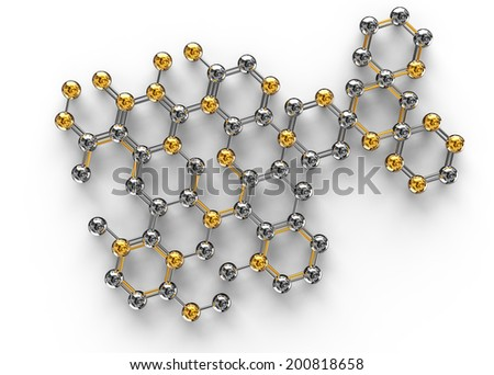 science illustration of abstract molecule on white background. 3D chemistry concept - stock photo