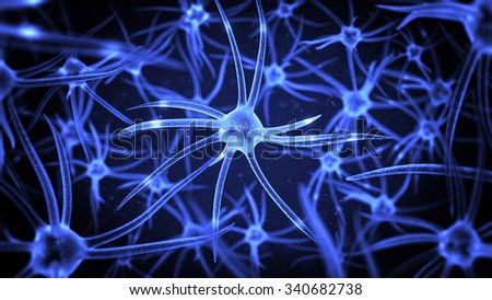 science illustration with several neurons with depth of field - stock photo