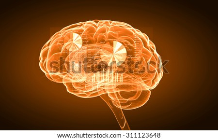 Science image with human brain on yellow background - stock photo