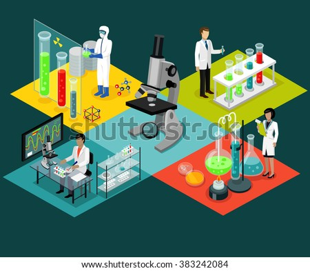 Science lab isomatric design flat. Science and scientist, science laboratory, lab chemistry, research scientific, microscope and experiment, chemical lab science test, technology illustration - stock photo