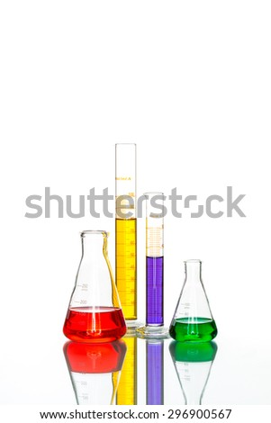 science Laboratory Glassware, reflective white table for chemical research