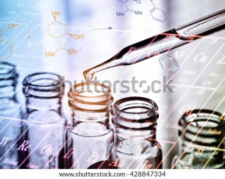 Science laboratory research, dropping chemical liquid to test tube. Science and medical concept  - stock photo