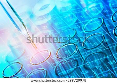 science laboratory test tubes - stock photo