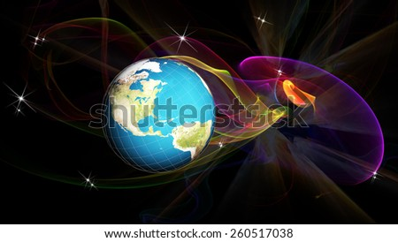 Science.Research cosmos.Globalization internet technology - stock photo