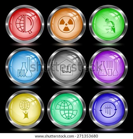Science set. Internet button. Raster illustration. - stock photo