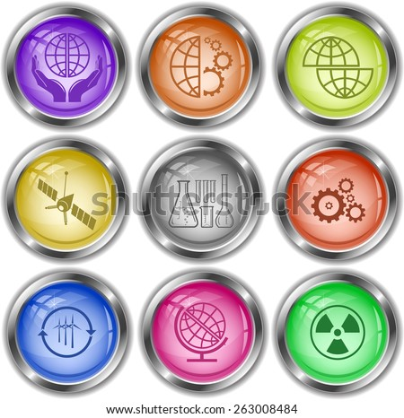 Science set. Raster internet buttons. - stock photo