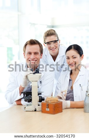 Science students working together in a laboratory