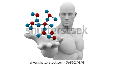 Science Technology and 3d Genetic Atomic Concept - stock photo
