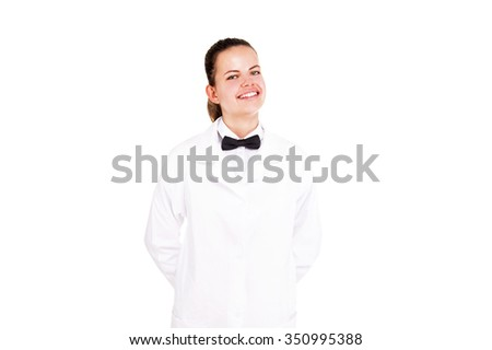 Science woman in lab coat and bow tai smiling over white background. - stock photo