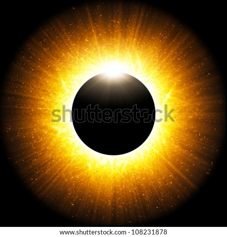 Scientific background - abstract illustration of solar eclipse - stock photo