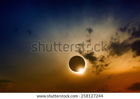 Scientific background, astronomical phenomenon - full sun eclipse, solar eclipse - stock photo