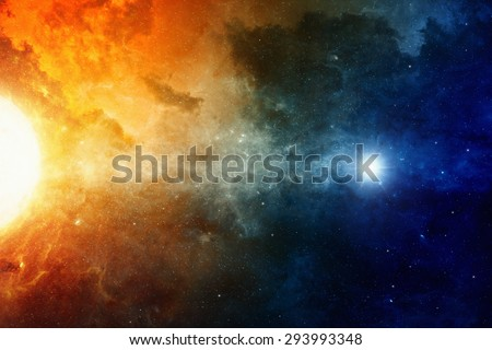 Scientific background, big red star, nebula in deep space, glowing mysterious universe. Elements of this image furnished by NASA nasa.gov - stock photo