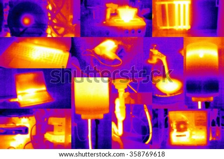 Scientific background - collage composed of photos taken by thermal camera - stock photo