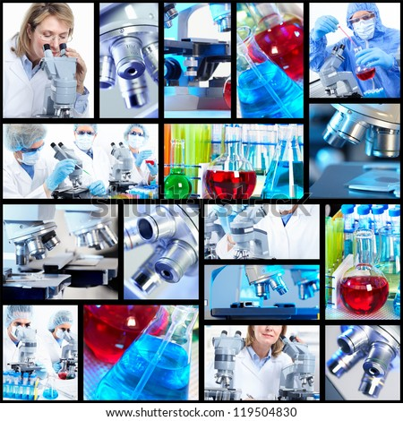 Scientific background collage. Medical research.