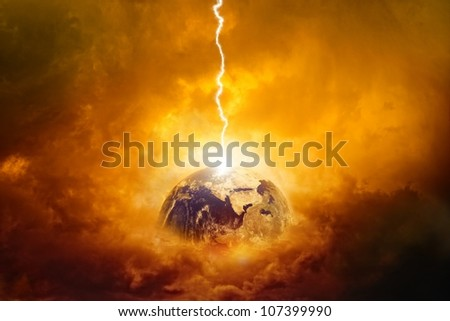 Scientific background - planet Earth in danger, struck by big lightning. Elements of this image furnished by NASA - stock photo