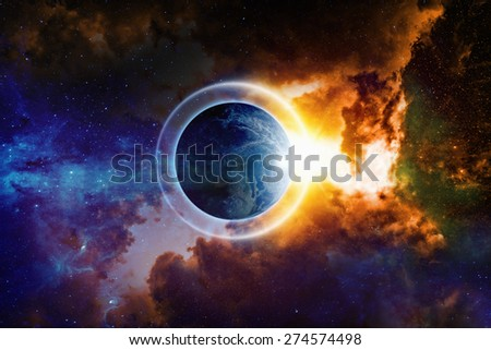 Scientific background - planet Earth is surrounded by protective shield in space, save planet, save world, end of world, red nebula in deep space. Elements of this image furnished by NASA nasa.gov - stock photo
