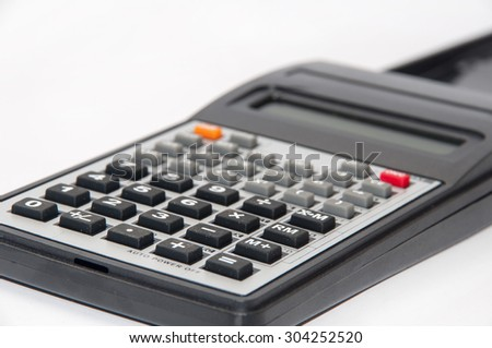 Scientific calculator on the white background.