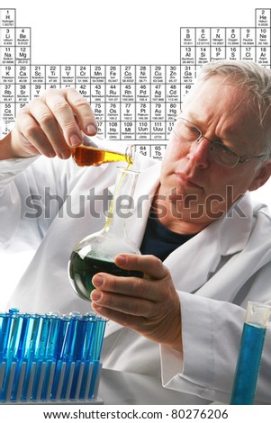 Scientific concept--Scientist holding a mixes chemicals in a beaker with liquid over a scientific background of the periodic tables of chemistry with room for your text. - stock photo