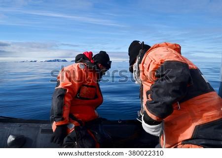 scientific expedition in antarctica - stock photo