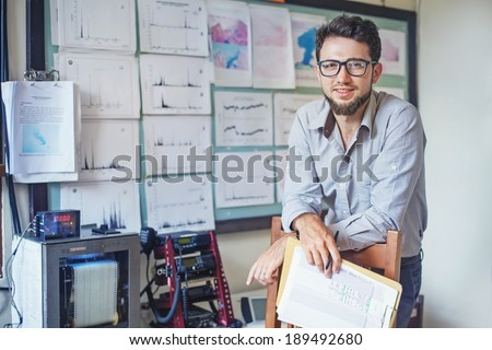 scientist and teacher - stock photo