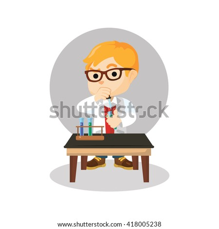 Scientist boy combining chemical - stock photo