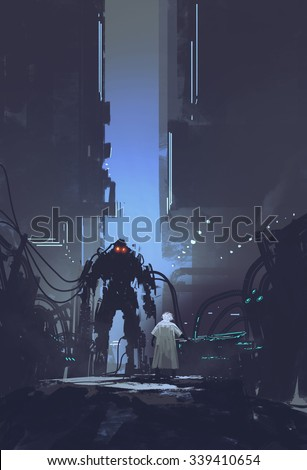 scientist build robot in old factory background,illustration painting - stock photo