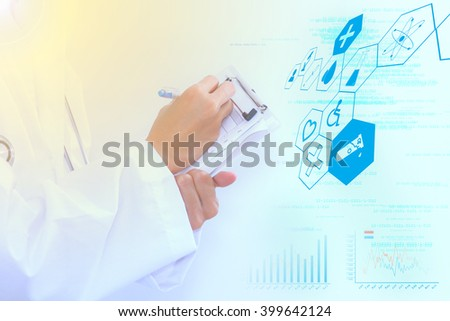 Scientist checklist  for science concept,science students working with chemicals in lab,Science checklist and technology,The science content with checklist for medical and science for research. - stock photo