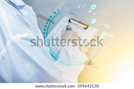 Scientist checklist on background for design science concept,science students working with chemicals in lab,Science checklist and technology design background,The science content with checklist. - stock photo