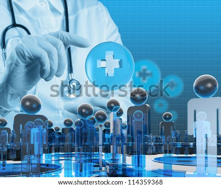 scientist doctor hand touch virtual  first aid sign in the lab - stock photo