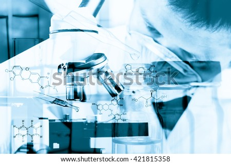 Scientist  dropping chemical liquid to microscope, Laboratory research concept;with chemical equations ;Double exposure style