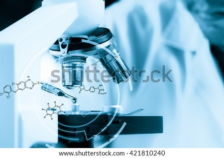 Scientist  dropping chemical liquid to microscope with chemical equations, Laboratory research concept