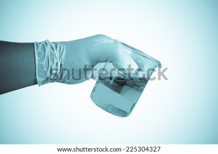 Scientist hand holding test tubes ,Laboratory research concept