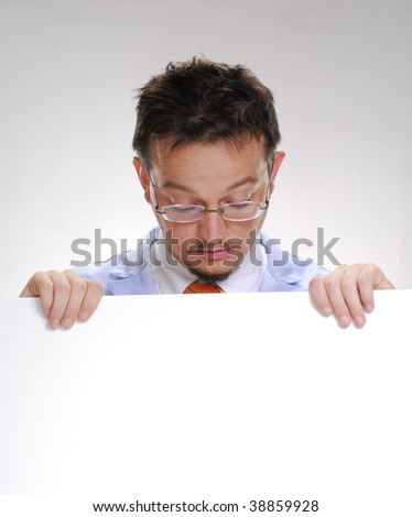 Scientist holding a white card. Doctor holding a white card. - stock photo