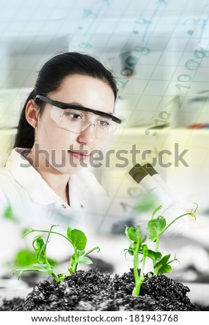 Scientist holding and examining samples with plants .Ecology laboratory. - stock photo