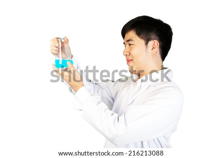 Scientist holding laboratory equipment isolated on white background