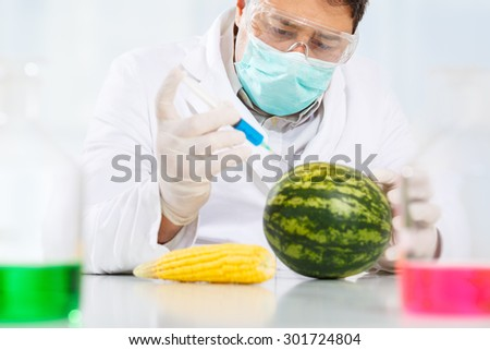 Scientist injecting chemicals into a watermelon and corn - stock photo