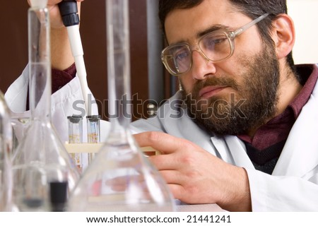 Scientist making tests in lab