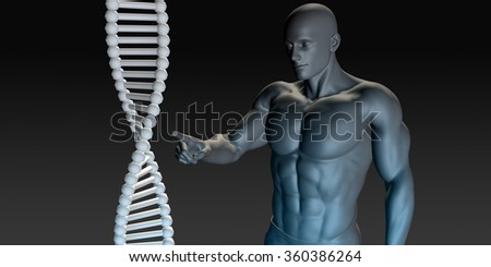 Scientist Pointing at DNA Helix Structure as Art
