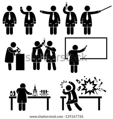 Scientist Professor Science Lab Teaching Writing Experiment Research Stick Figure Pictogram Icon
