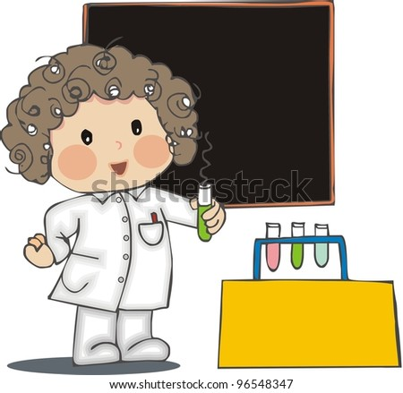 scientist with blackboard - stock photo