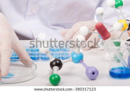 scientist with equipment and science experiments