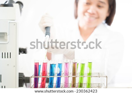 Scientist with working at the laboratory