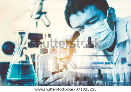 scientist working at the laboratory Double exposure style,Laboratory research concept - stock photo