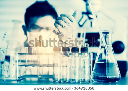 Scientists and scientific equipment In the laboratory,Laboratory research concept - stock photo