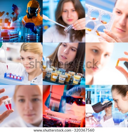 Scientists and technicians in scientific microbiology laboratories, photo collage set