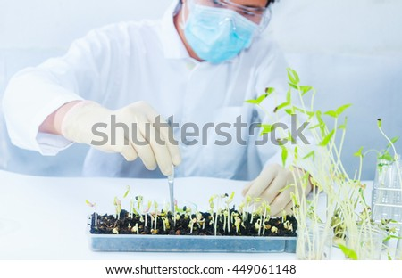 scientists working at the laboratory,scientist background,male scientist looking in laboratory,scientists studying of science concept and selective focus. - stock photo
